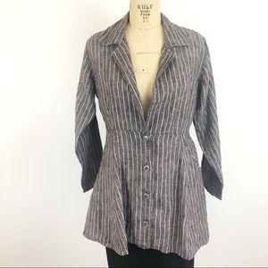 Flax striped peplum style jacket lagenlook gray M